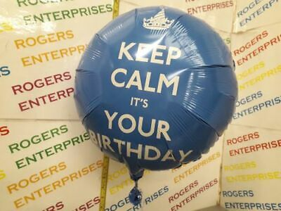 1 X Anagram Quality 'Keep Calm It's Your Birthday' Foil Helium Balloons - Blue • 1.79£