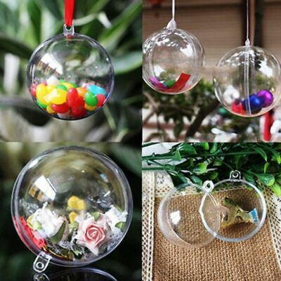 Supplies Acrylic Craft Clear Ornament Christmas Hanging Decors Transparent Ball- • 3.63£