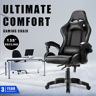 AU129.90 • Buy Recliner Gaming Chair Executive Computer Office Racer Chairs PU Leather Seat