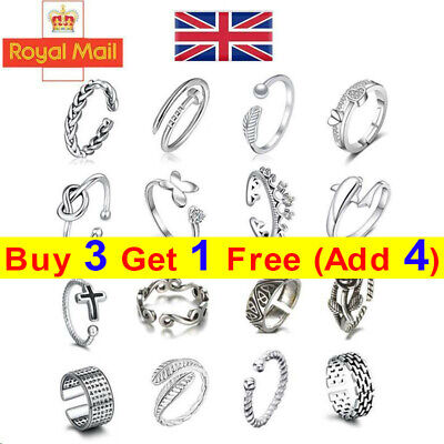 925 Sterling Silver Solid Toe Ring Adjustable Stacking Midi Knuckle Top Finger H • 3.56£