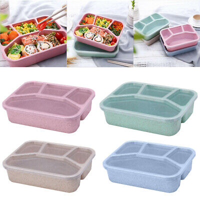 For Kids Adults 4 Compartments Lunch Box Food Container Set Bento Storage Boxes • 5.99£