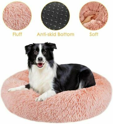 S-XL Pet Dog Cat Calming Beds Comfy Shag Warm Fluffy Bed Nest Mattress Donut Pad • 19.99£