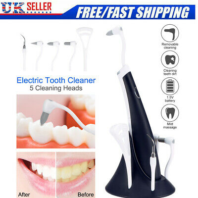 Electric Sonic Dental Scaler Tartar Calculus Plaque Remover Teeth Cleaner 5 In 1 • 11.69£