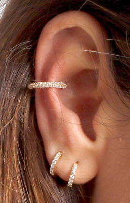 AU9.95 • Buy 8mm Pair Gold Silver Plated Crystal Huggie Hoop Earring Small Huggies Jewellery