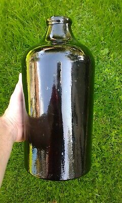 Large Size Free Blown English Black Glass Pontil Chemist Bottle C1800. • 90£
