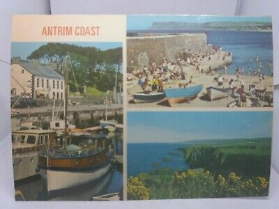 Vtg Multiview Postcard Co Antrim Coast Boats At Carnlough Ballycastle Bay 1970s • 3.25£