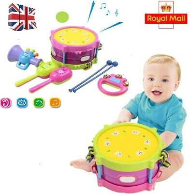 5pcs Kids Baby Roll Drum Musical Instruments Kit Toy For Boys Girls Gift Game UK • 7.99£