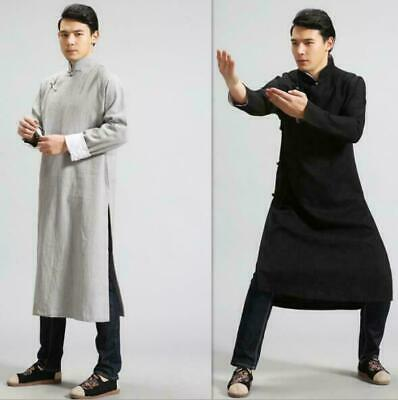 $54.49 • Buy Mens Vintage Chinese Style Linen Kungfu Taiji Long Coat Gown Casual Outwear MOON