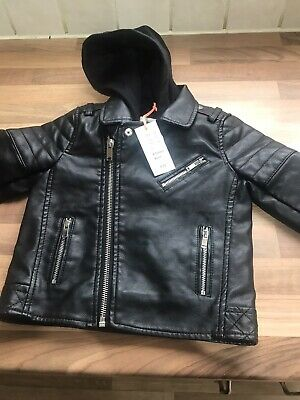 Stunning 9-12 Months Old Hooded Leather Jacket By River Island • 20.99£