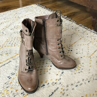 Womens Genuine Leather High Heel Biker Lace Up Boots Size 5 By Red Herring • 15£