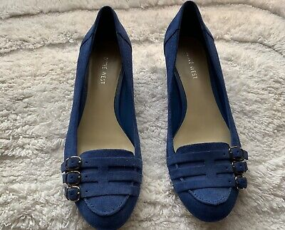 AU37.95 • Buy Nine West Women's Shoes Royal Blue Suede Leather,size 7.5.