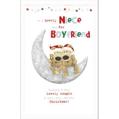 Lovely Niece And Her Boyfriend Boofle On Moon Christmas Card • 3.99£