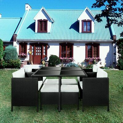9 Pieces Rattan Garden Furniture Set Cube Dining Chair And Table Outdoor • 369.99£