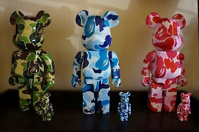 $1899.99 • Buy Auth Medicom Bearbrick Be@rbrick Bape ABC Camo 400% 100% Set Blue Pink Green Kaw