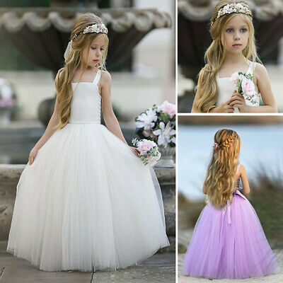 AU27.01 • Buy Kids Girls Floral Princess Bridesmaid Dress Pageant Gown Birthday Wedding Dress