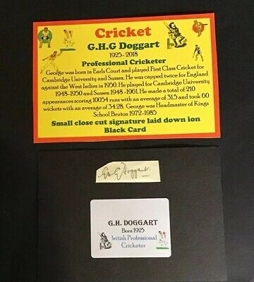 Cricket Autographs G.H.G. Doggart  Cambridge Sussex  Close Cut Signa • 6£