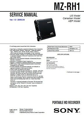AU10 • Buy Sony Mz-rh1 Minidisc Printed Service Manual