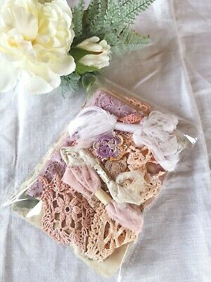 Hand Dyed Vintage Linens Crochet Lace Scrap Sewing Remnant Craft Pk NINE • 7.50£