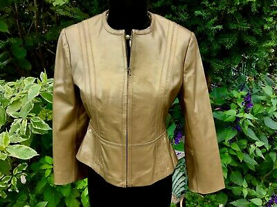 £24 • Buy M&S Gold Leather Cropped Jacket, Zip Front, Collarless.  Size 8.