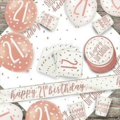 Glitz Rose Gold 21st Birthday Party Tableware Decoration Plates Banners Age21 • 1.97£