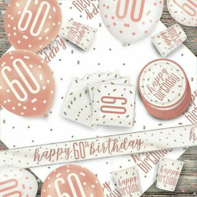 £1.97 • Buy Glitz Rose Gold 60th Birthday Party Tableware Decoration Plates Banners Age60