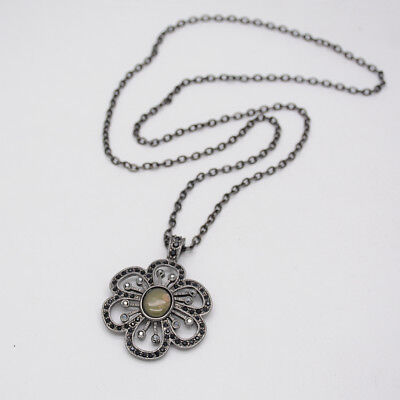 $ CDN9.21 • Buy Lia Sophia Jewelry Black Chain Elegant Flower Pendant Cut Crystals Necklace
