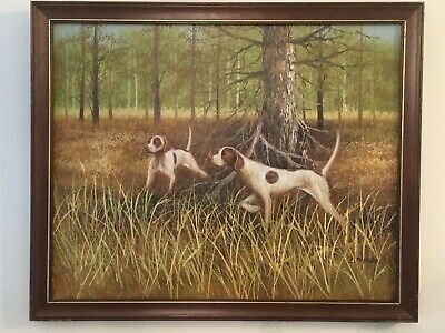Original Oil Painting By L. Eiford Of Two Pointers Hunting Gun Dogs In Woodland • 225£