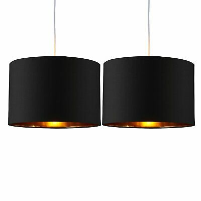 Set Of 2 Black Ceiling Light Shades With Copper Inner Easy Fit Pendants • 19.99£