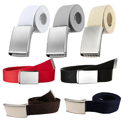 £3.69 • Buy Plain Webbing Canvas Belt Unisex Quality Cotton Fabric Silver Buckle Fits All