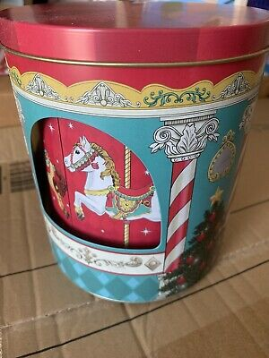 Musical Christmas Carousel Rotating Biscuit Sweet Gift Tin • 5£