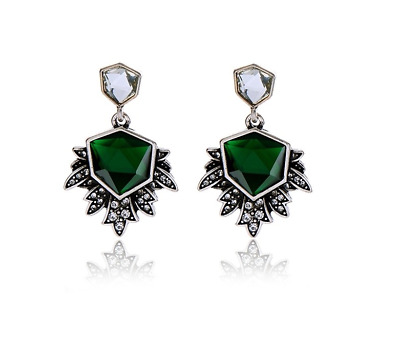 £4.20 • Buy Art Deco Vintage Green Silver Large Drop Sparkle Earrings Gift Quality UK