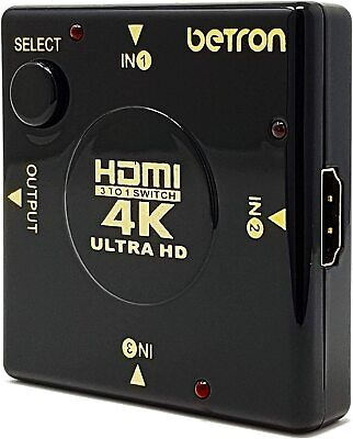 Betron HDMI Mini Switch Box, 3 Port HDMI Switcher, Plug And Play, Supports 4K • 7.99£