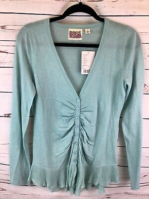 $ CDN46.91 • Buy Rosie Neira Anthropologie Wool Blend Cardigan Ruched Button Front Womens M NWT
