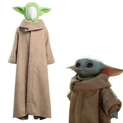 The Mandalorian -Baby Yoda Cosplay Costume Robe Hat Halloween Suit Outfit  • 29£