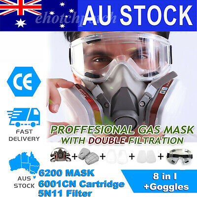 AU21.68 • Buy 6200 8 In 1 Suit Respirator Painting Spraying Face Gas Mask Set With Goggles AU