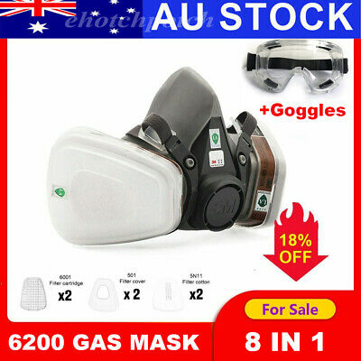 AU25.56 • Buy 6200 Industrial Half Face Protector Gas Respiratory 8 In 1 With Goggles AU STOCK