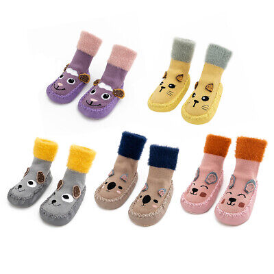 Unisex Baby Terry Floor Socks Cotton Toddler Shoes Fluffy Slipper Walking Boots • 8.91£