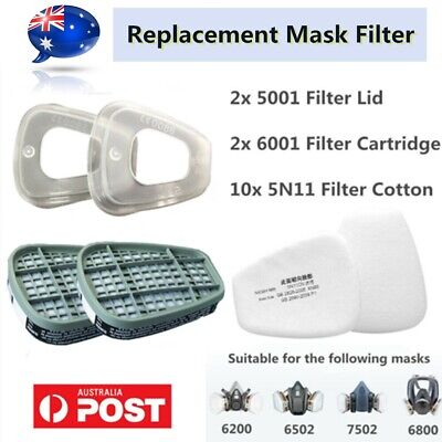 AU12.99 • Buy 6001CN Respirator Filter Cartridge / 5N11 Cotton / 501 Cover For 6800 6200 7502