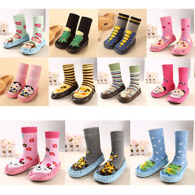 Toddler Funny Cartoon Athletic Socks Shoes Baby Winter Slipper Walking Sock-ons • 9.05£