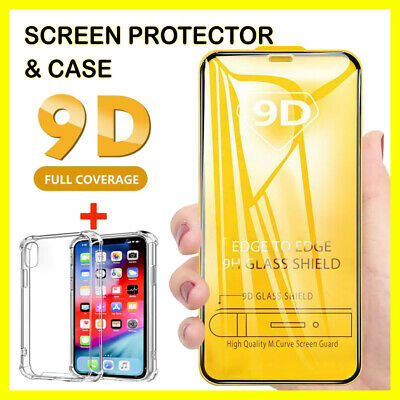 Tempered Glass SCREEN PROTECTOR + CASE IPhone X, XR, XS, 11 PRO MAX FULL COVER • 2.79£