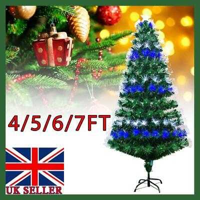 Christmas Tree Xmas Fibre Optic LED Lights Star Metal Stand Festival Decoration • 22.39£
