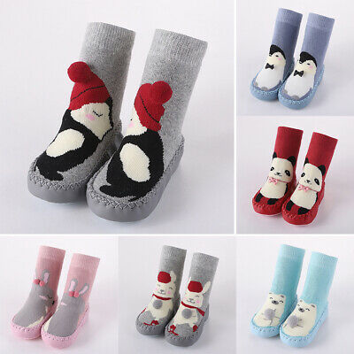 Toddler Infant Slip-on Indoor Slippers Knitted Warm Long Socks Kid Cartoon Shoes • 8.95£