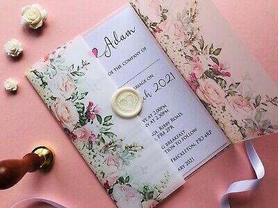 £4.90 • Buy Personalised Floral Vellum Wedding Invites With Wax Seal