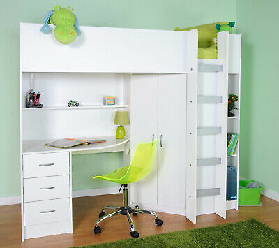 £399 • Buy Calder High Sleeper Cabin Bed With Desk Wardrobe Drawer In White R227W