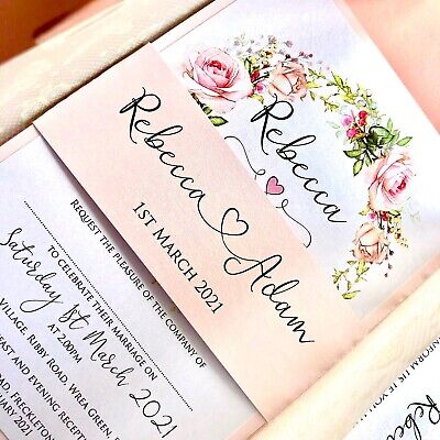 £3.80 • Buy Personalised Butterfly Vellum Wedding Invites With Wax Seal And Belly Band