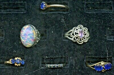 $ CDN20.43 • Buy Vintage Gold Filled, Sterling Jewelry 6 Ring Lot Blue, Opal & Lavender Stones
