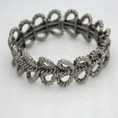 $ CDN9.34 • Buy Lia Sophia Signed Jewelry Antique Silver Tone Stretch Bangle Openwork Bracelet