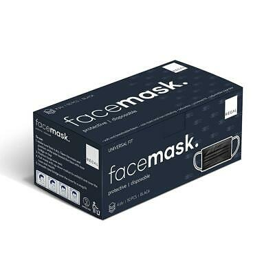 AU29.95 • Buy 4ply Protective Black Disposable Face Mask 50 Pack Nose Adaptable Universal Fit