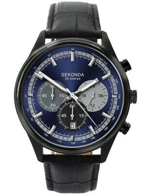SEKONDA Mens Chronograph Quartz Blue Dial Sports Watch With Leather Strap 1593 • 44.99£