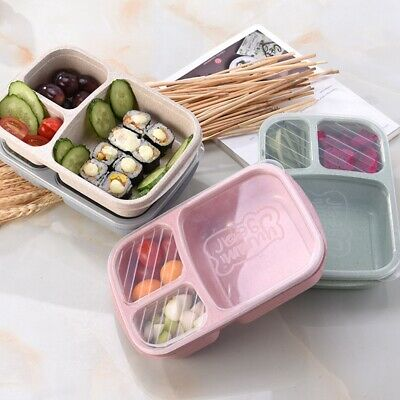 3-Compartment Lunch Box Wheat Straw Food Container Case For Office School Picnic • 4.79£